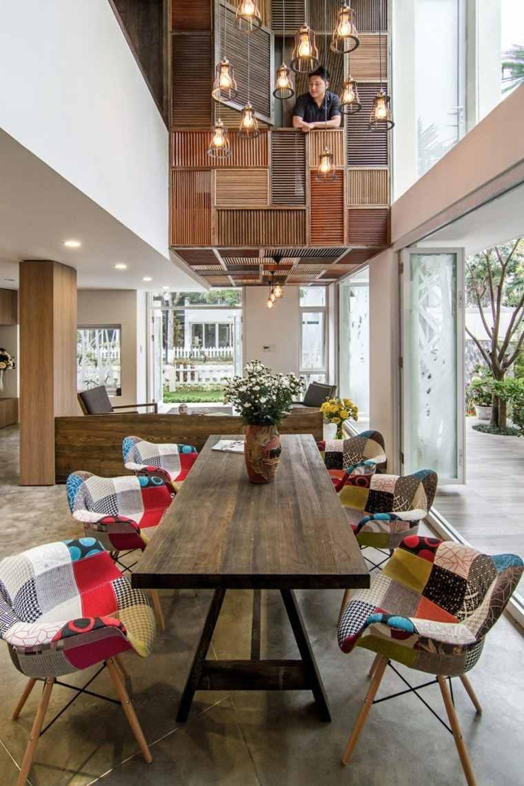 diseño arquitectura balcon interior mesa