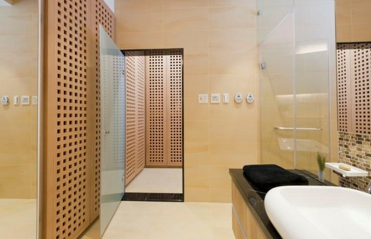 Cabinas De Baño Sauna:diseño de cuarto de baño moderno con sauna