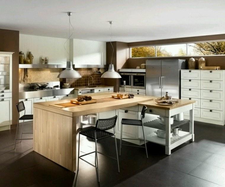 diseño cocina madera marron pared