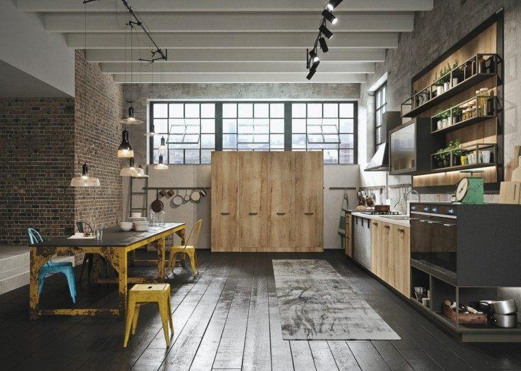 diseño cocina muebles madera mesa