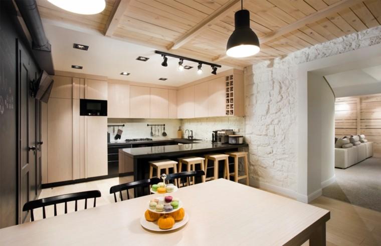 diseño cocina rustica techo madera