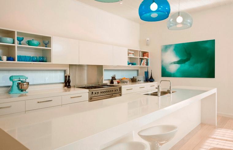 diseño cocinas lampara moderna taburetes
