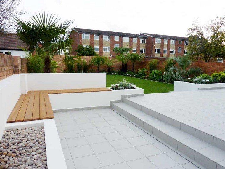 diseño de jardines modernos banca rocas grava