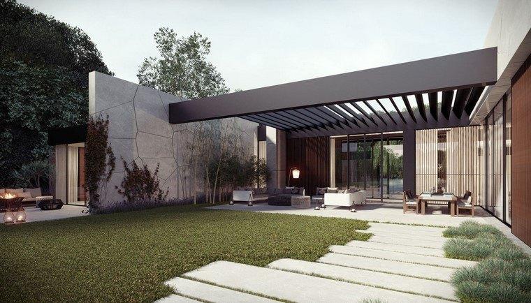 diseño de jardines modernos casa cesped hormigon