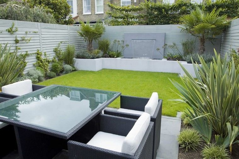 diseño de jardines modernos cascada muro muebles
