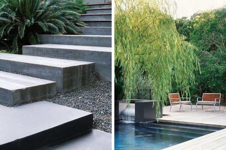 diseño de jardines modernos escalones hormigon sillas