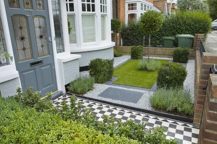 diseño de jardines modernos grava cesped grava