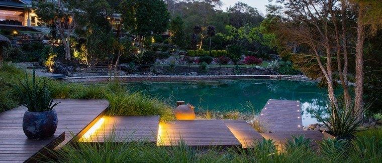 diseño de jardines modernos led luces muelle
