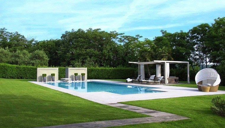 diseño de jardines modernos minimalista piscina muebles