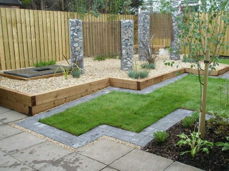 diseo de jardines modernos muro madera cesped