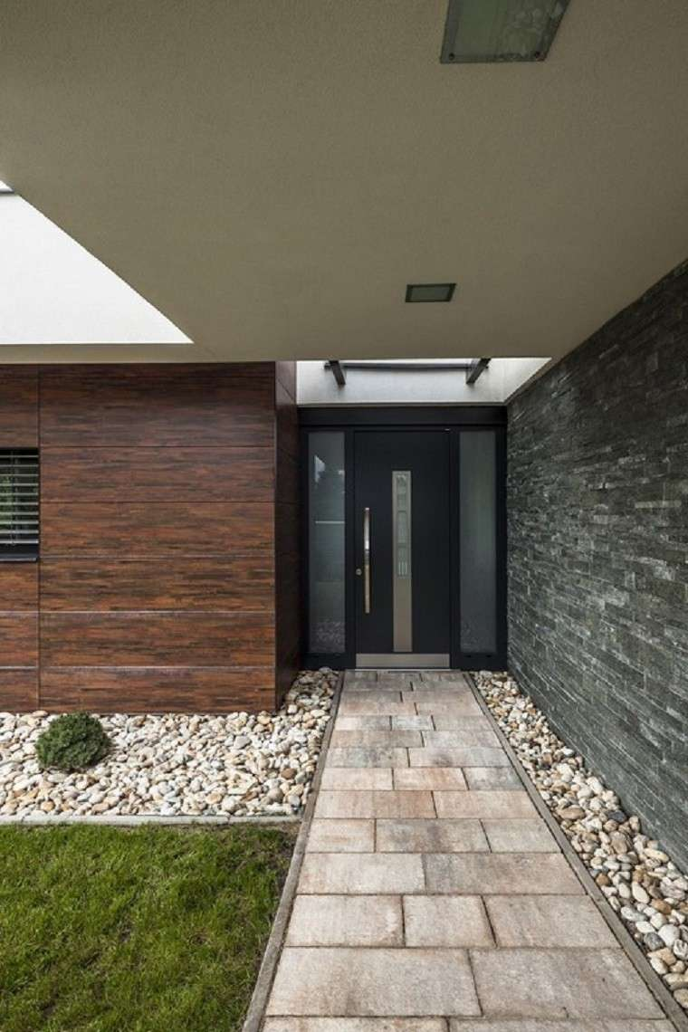 diseño de jardines modernos rocas sendero casa