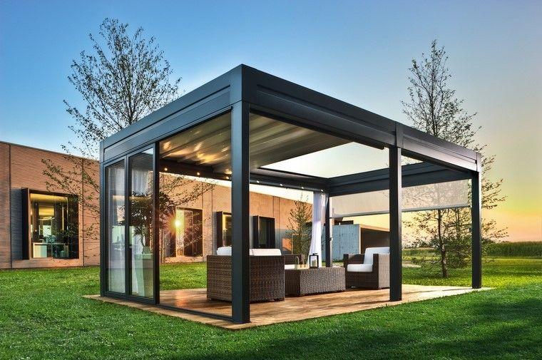 diseño de jardines modernos salon exterior muebles
