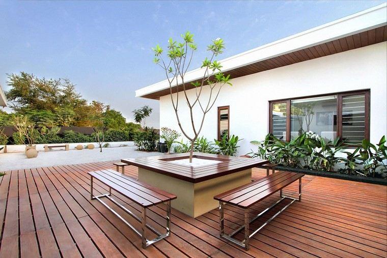 diseño de jardines modernos terraza plantas madera
