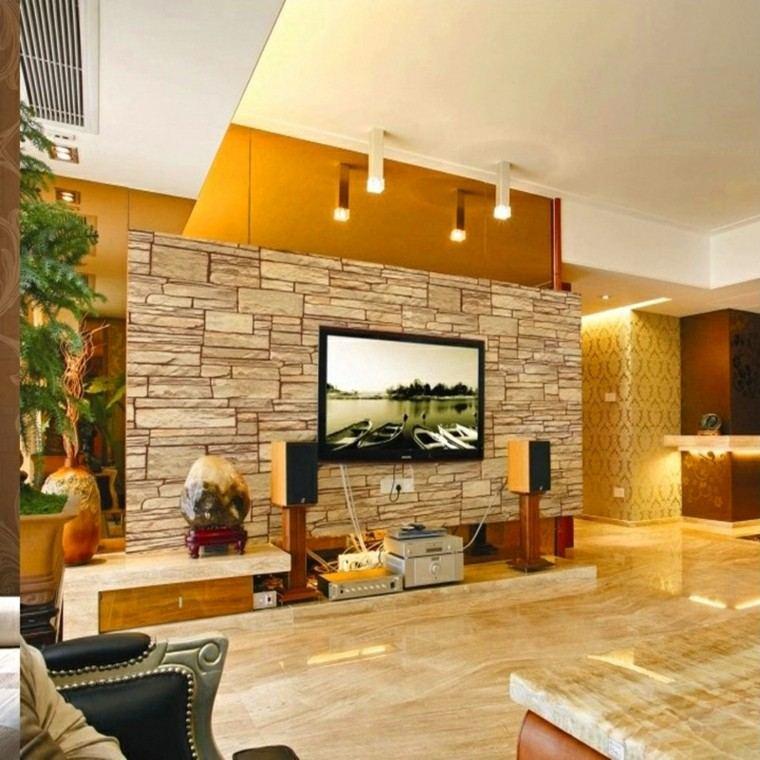 diseño de salon muro piedras