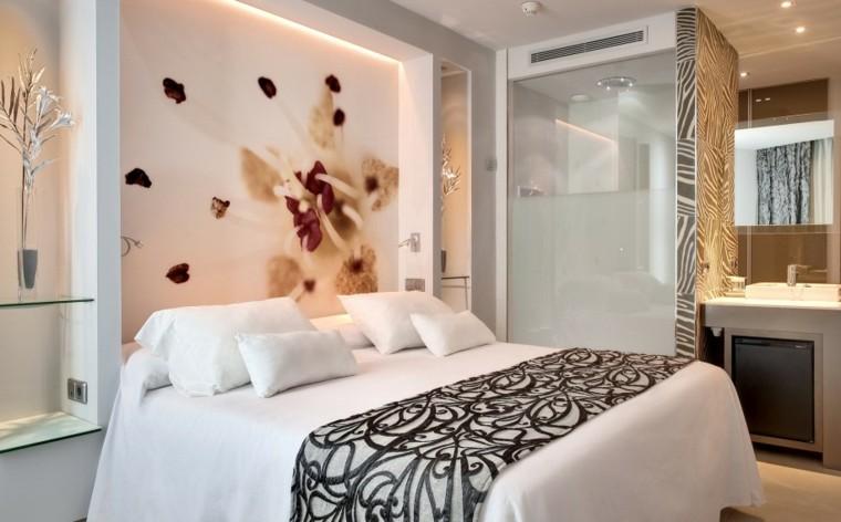 diseño dormitorio papel pared flor