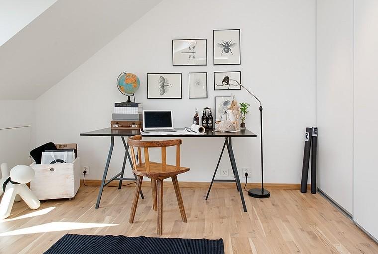 diseño escandinavo lugar trabajo minimalista
