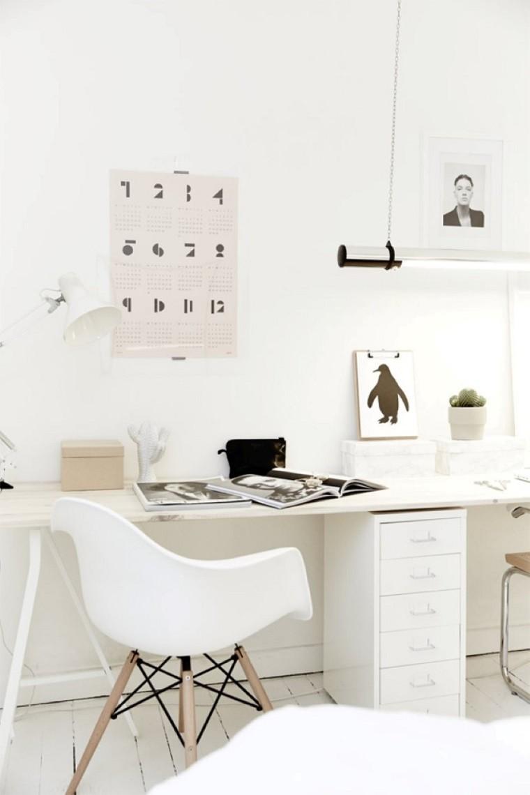 diseño estilo escandinavo oficina blanca