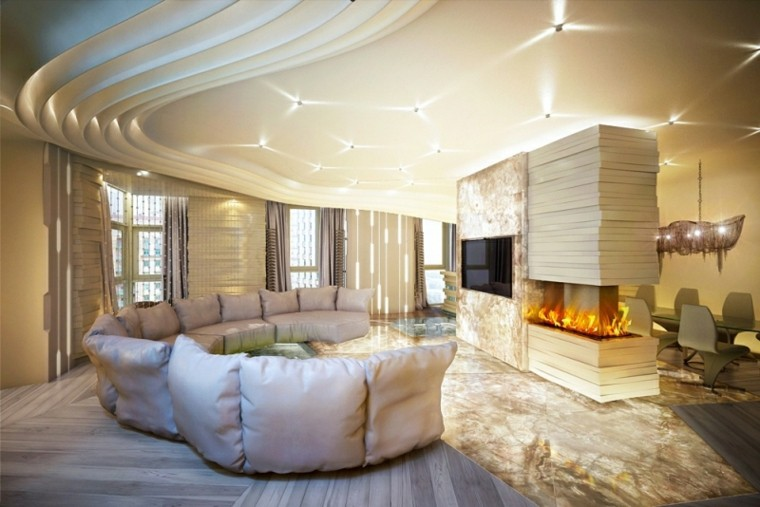 diseño interiores modernos salon chimenea