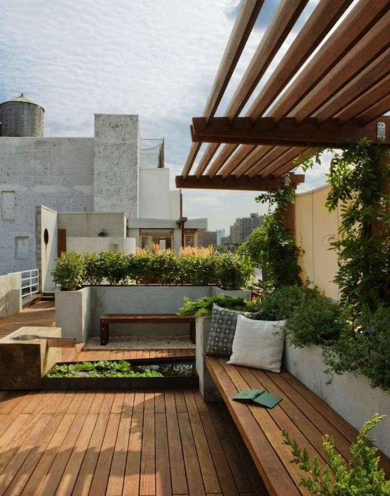 diseño jardin banca madera azotea