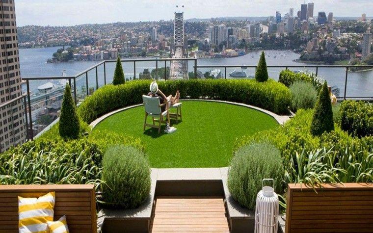 diseño jardin isla cesped vista