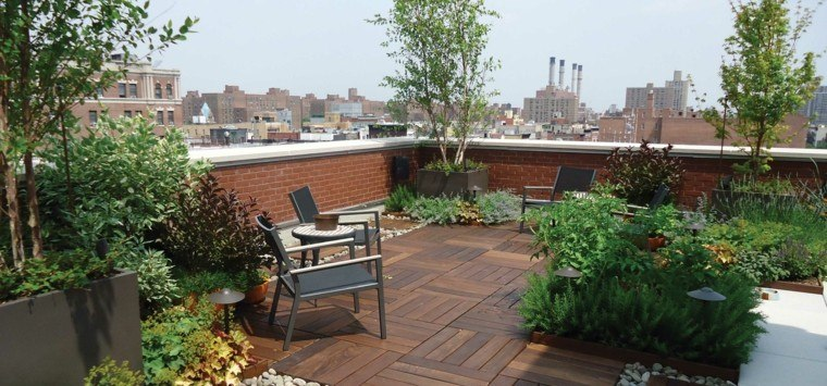 diseño jardin madera ladrillos muro