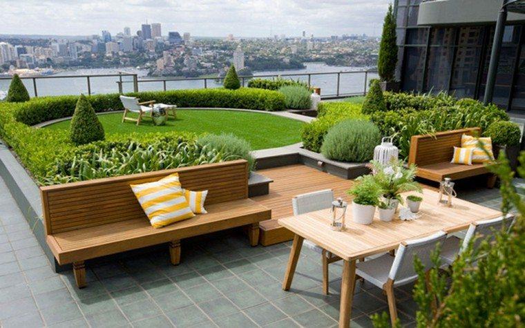 diseño jardin mesas aire libre banca