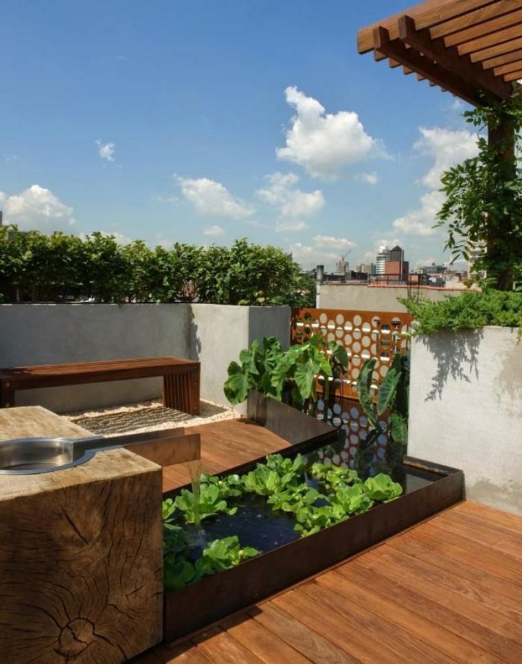 diseño jardin zen agua pergola estanque