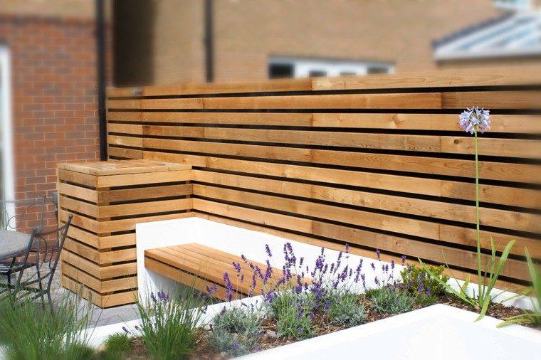 diseño jardines pequeños valla madera