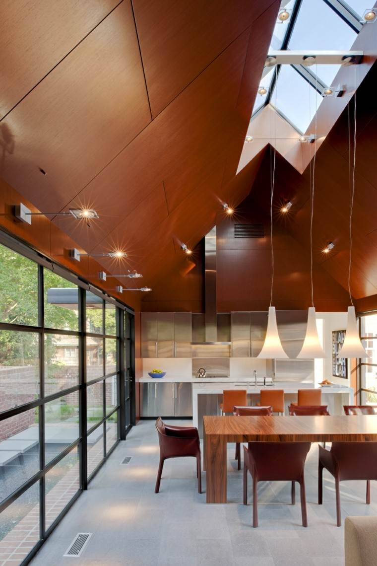 diseño lujoso techo laminado madera