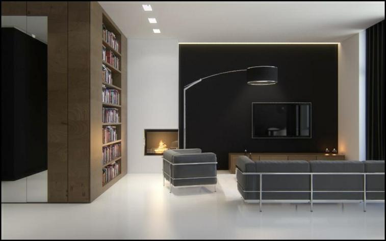 diseño moderno blanco negro salon