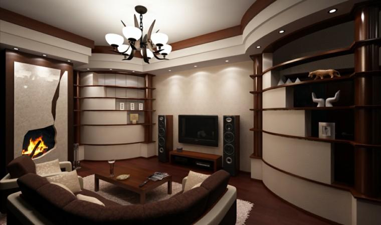 diseño moderno muebles salon madera