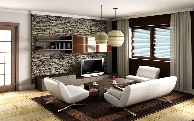diseo moderno pared piedra sala