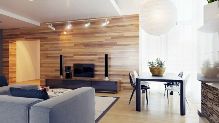 diseño moderno pared salon laminado