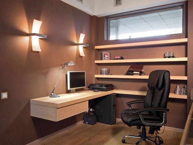 diseño oficina moderna color marron