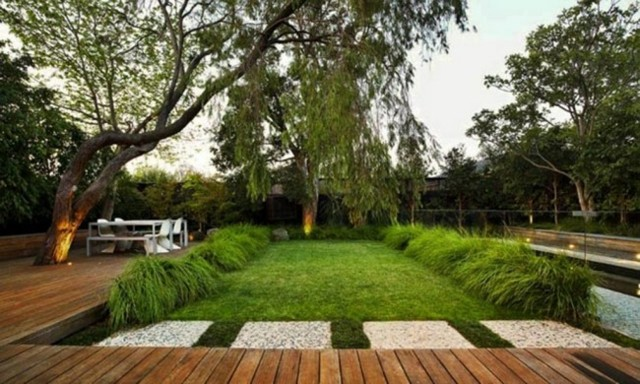 diseño paisajes modernos madera jardin