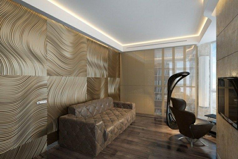 diseño paneles dorados relieves paredes