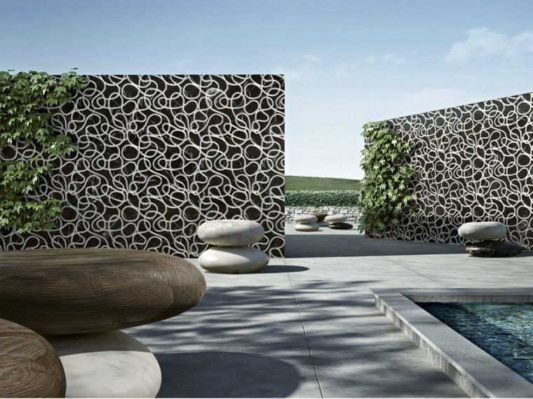 diseño paredes muros portada jardin