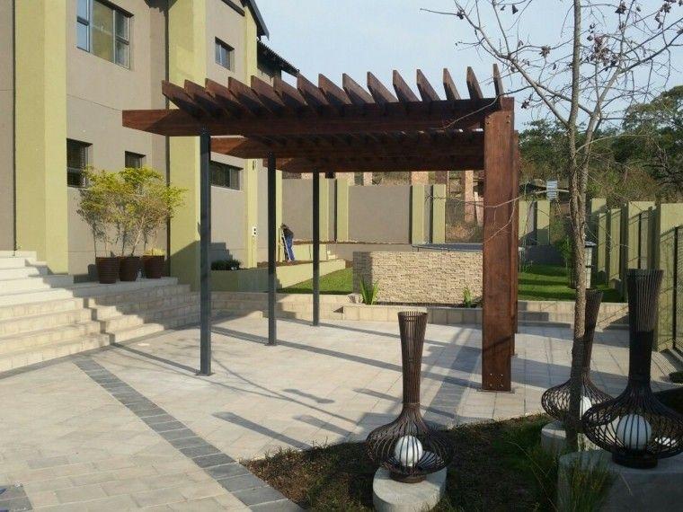 diseño pergola patio moderno madera