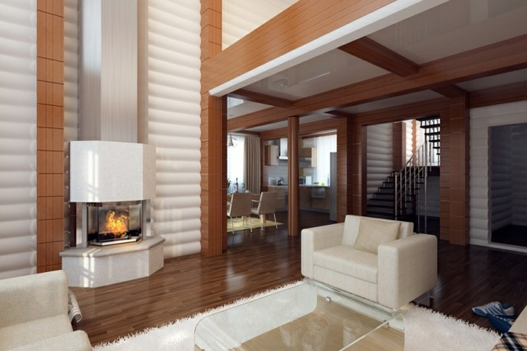 diseño sala estar blanco madera