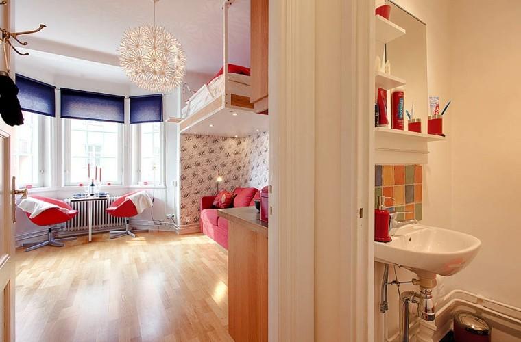 diseño sala estar baño loft