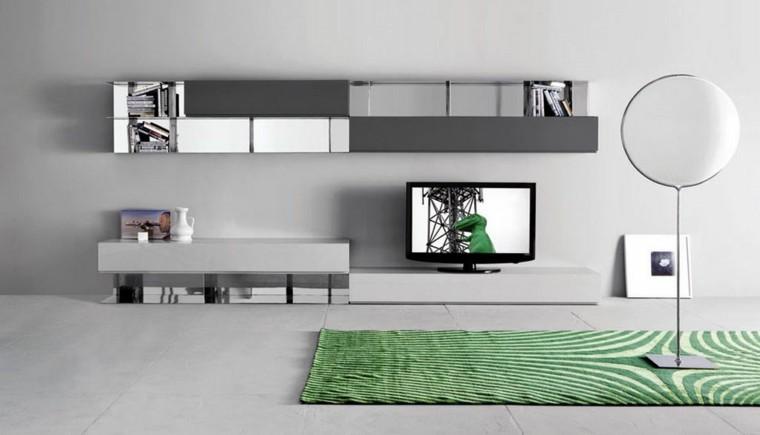 diseño salon alfombra verde rayas