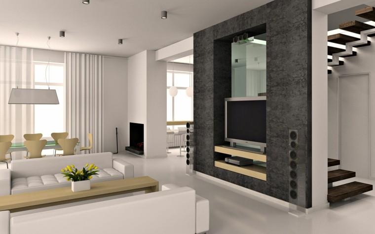 diseño salon muebles modernos tele