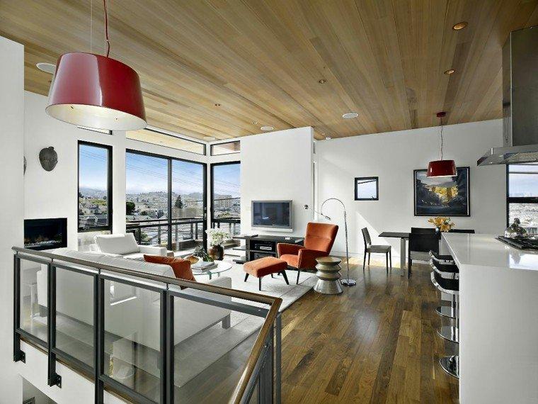 diseño salon moderno techo madera