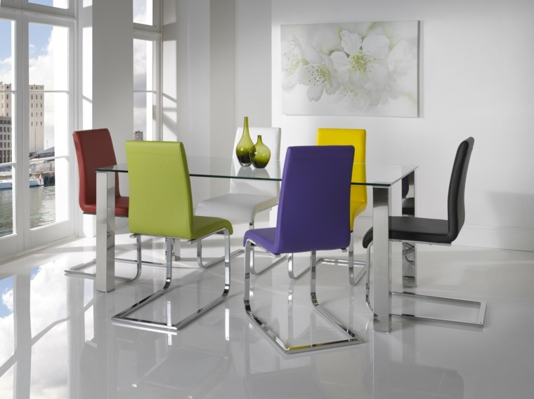 diseño sillas modernas comedor colores