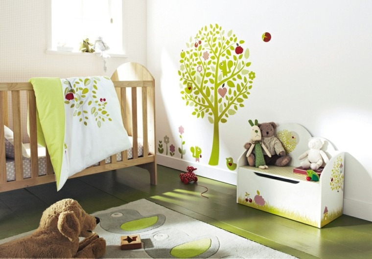 diseño color verde dormitorio bebe
