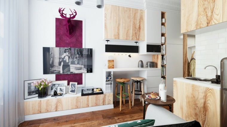 diseno apartamento pequeno confortable sillas barra ideas