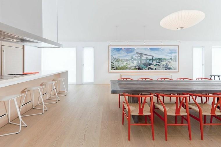 diseño de interiores isla grande encimera blanca suelo madera ideas
