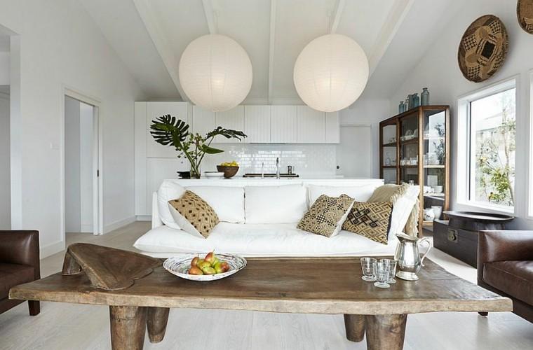 diseño de interiores mesa madera lamparas ideas salon blanco