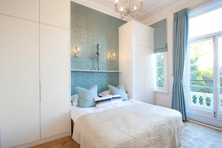 diseño de interiores paredes combinacion blanco azul ideas