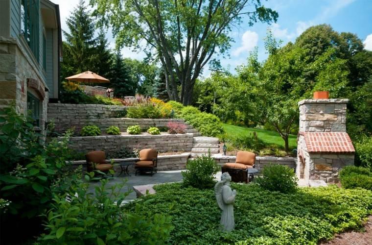 diseño de jardines amplios niveles muros piedra ideas